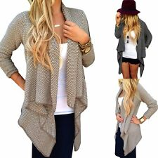 Womens Cardigan Loose Sweater Long Sleeve Knitted Irregular Outwear Jacket Coat