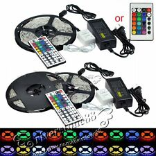 5M SMD 3528/5050 White RGB 300LEDs LED Strip Lights Adapter/44 Key 12V For Xmas