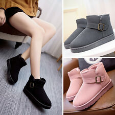 Fashion Womens Snow Boot Faux Suede Flat Ankle Strap Fur Lined Winter Warm Shoes