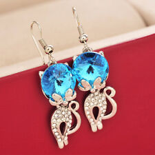 Fashion Womens Lovely Cat Shaped Crystal Rhinestone Earrings Party Hook Jewelry