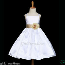 US SELLER WHITE/CHAMPAGNE FORMAL WEDDING FLOWER GIRL DRESS 12M 18M 2 4 6 8 10 12