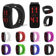 HOT Mens Womens Sports Silicone Red LED Sport Bracelet Touch Digital Wrist Watch