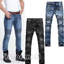 France Style Men Moto Biker Jeans Straight Slim Skinny Distressed Denim Pants