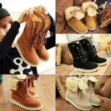 Fashion Womens Ankle Winter Boots Lace Up Shoes Flats Round Toes Warm Heels  gss