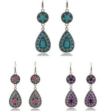 1 Pair Vintage Bohemia Retro Crystal Drop Earring Alloy Resin Beaded Earrings