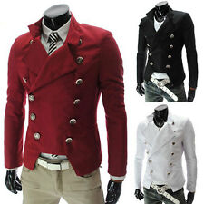 Mens Casual Double Breasted High neck Slim fit Short Jacket