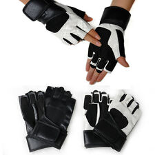 PU Leather Gym Gloves Fitness Weight Lifting Training Bodybuilding Crossfit Pair