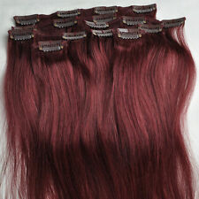 105g Burgundy Red Clip In Real Human Hair Remy Hair Clip Extensions Full Head