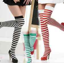 New Womens Over Knee Long Stripe Print Ladies Thigh High Striped Patterned Socks