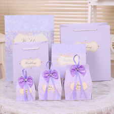 50pcs Purple Candy Boxes Party Favors Wedding Box Sweets Party Gift Bags w/Bow