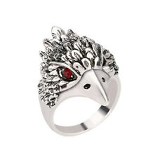 Vintage Mens Silver Alloy Crystal 3D Eagle Head Biker Ring Punk Gothic Jewelry