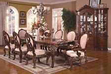 NEW TUSCANY ORNATE FORMAL ANTIQUE BROWN CHERRY FINISH WOOD DINING ROOM TABLE SET
