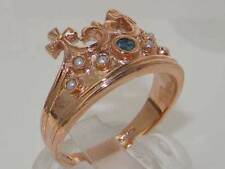 Solid 9ct Rose Gold Natural Sapphire & Pearl Coronet Crown Band Ring