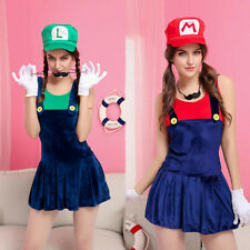 Women's Super Mario Luigi Brothers Plumber Fancy Dress Halloween Party Costume