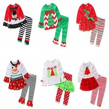 Christmas Infant Baby Boy Girl Outfits Shirt Top Pants Leggings 2PCS Clothes Set