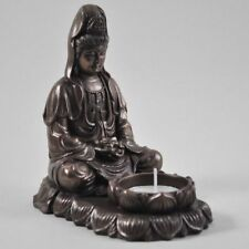 FABULOUS COLD CAST BRONZE BUDDHA T LIGHT HOLDER ORNAMENT NEW & BOXED 34016