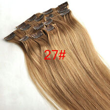 8pcs 40cm~65cm Virgin Remy Clip In Real Human Hair Extensions Honey Blonde 120g