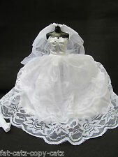 BARBIE DOLL TRADITIONAL WHITE 2 PIECE WEDDING DRESS, VEIL SEVERAL TIERS UKSELLER