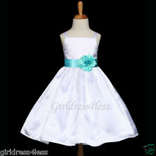 WHITE/AQUA POOL SPAGHETTI STRAPS WEDDING FLOWER GIRL DRESS 12M 18M 2 4 6 8 10 12