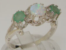 Solid Sterling Silver Natural Opal & Emerald Ladies Trilogy Band Ring