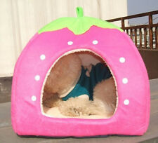 Cute Soft Strawberry Pet Dog Bed House Puppy Kennel Cat Bed Cushion Mat Basket