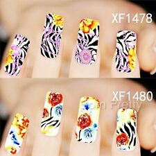 1 Sheet Nail Art Water Decals Transfers Sticker FLower Zebra Stripe Pattern