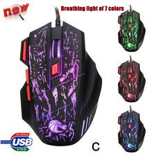 5500DPI 7Buttons USB LED Optical Wired Gaming Mouse Mice For PC Laptop Pro Gamer