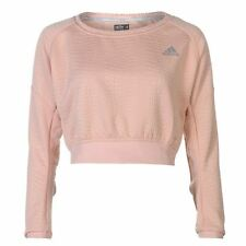 adidas Ladies AKTIV Cropped Jumper Sweater Crew Neck Long Sleeve Clothing