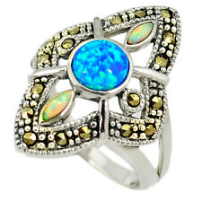Blue australian opal (lab) marcasite 925 sterling silver ring size 8 a18625