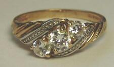 LADIES  9 CARAT GOLD RING WITH THREE CUBIC ZIRCONIA  SIZE L 1/2 WEIGHT 2.4 GRAMS