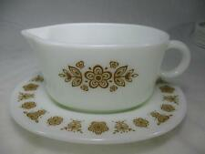 Vintage Corelle/Pyrex Gravy Boat and Underplate Butterfly Gold Pattern USA