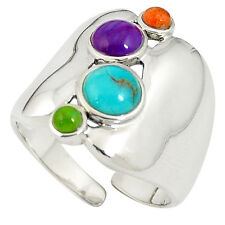 South western copper turquoise 925 silver adjustable ring jewelry size 8 b2456