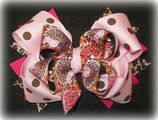 Hello Kitty Leopard Boutique Hair Bow 3 layers of Loops Spikes Funky Hairbows
