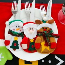 Christmas Santa Claus Snowman Elk Knife Fork Bag Dinner Table Cutlery Decor