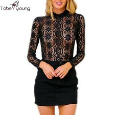 Sexy Womens Lace Crochet Long Sleeve Slim Top Blouse Shirt Tee Party Club Casual