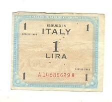 VERY RARE.Italy WWII Allied Military Currency issue 1 Lira note dated 1943