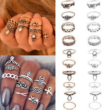 Hot 10Pcs Women Punk Vintage Knuckle Rings Tribal Ethnic Hippie Stone Joint Ring