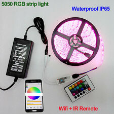 5M 5050 SMD RGB LED Strip Light 12V + Remote Wifi Controller By Phone APP +Power