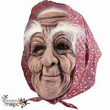 Halloween Old Woman Lady Witch Granny Latex Mask With Eyebrows And Red Headscarf