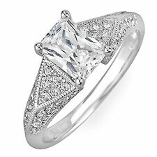 Diamond Engagement Ring Radiant and Round Shape Antique Style GIA 1.84 Carat