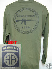 82nd AIRBORNE LONG SLEEVE T-SHIRT/  IRAQ COMBAT OPS/ MILITARY/ ARMY/    NEW