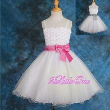 Pearls Embossed Formal Occasion Dress Wedding Flower Girl Pageant Size 3T-8 #126