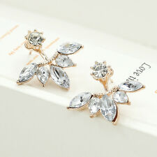 New Popular Women Leaf Shape Crystal Rhinestones Earring Back Cuff Ear Stud Gift