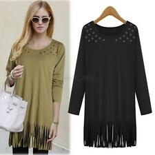 Vouge Ladies New Loose Casual Tops Blouse Long Sleeve Tassel Shirt Plus Size Q25