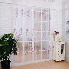 200x100cm Rose Flower Voile Sheer Window Scarf Swag Valance Door Curtain