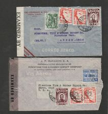 Peru 1942 lot of 2 censored airmail covers to USA
