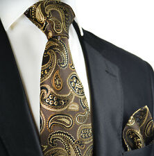 Desert Palm Brown Paisley Silk Tie and Pocket Square by Paul Malone