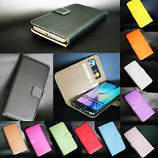 NEW Luxury Genuine Real Leather Wallet Flip Stent Card Case Cover For Huawei