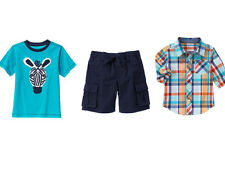 NWT Gymboree Boys JUNGLE TOUR sz 2T 3T 4T 3 pcs Zebra Tee Plaid Shirt & Shorts