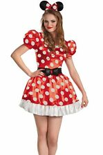 Minnie Mouse Red Costume Dress & Ears Sexy Adult Classic Mickey - S, M, L, XL